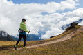 Woman hiker walking in Himalaya Mountains, Nepal Stock Image