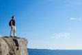 Woman hiking acadia national park Stock Image