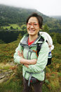 Woman hiking in lake district smiling east asian cumbria uk Stock Photo