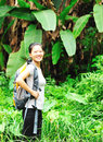 Woman hiking rainforest Stock Image