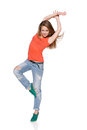 Woman hip hop dancer over white background this image has attached release Stock Image