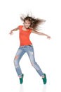 Woman hip hop dancer over white background this image has attached release Stock Photography