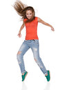Woman hip hop dancer over white background this image has attached release Stock Images
