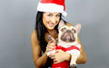 Woman and his french bulldog in christmas costume beautiful Stock Image