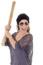Woman hispanic criminal with bat on white Stock Images