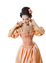 Woman in historic baroque costume corset girl rococo retro style dress flirting isolated over white background Royalty Free Stock Photo