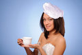 Woman hold cup Royalty Free Stock Photos