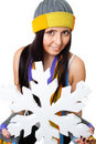 Woman hold huge snowflake Royalty Free Stock Photography