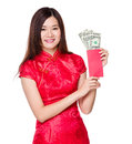 Woman hold lucky money with USD Royalty Free Stock Photo