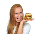 Woman hold tasty unhealthy burger sandwich with cheese salad tom Royalty Free Stock Photo