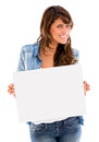 Woman holding an banner ad Stock Photography