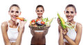 Woman holding basket with vegetable concept vegetarian dieting happy young healthy food Stock Photography