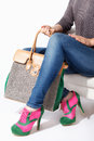 Woman holding a big fashion bag Royalty Free Stock Photo