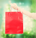 Woman holding a big red shopping bag Royalty Free Stock Photo