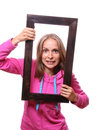 Woman Holding Blank Frame Stock Photo