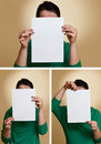 Woman holding blank paper Royalty Free Stock Photo