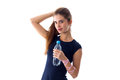 Woman holding a bottle of water Royalty Free Stock Photo