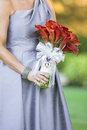 Woman holding bouquet Royalty Free Stock Photos