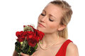 Woman Holding Bouquet of Red Roses Royalty Free Stock Photos