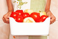 Woman holding a bowl with fresh vegetables different Royalty Free Stock Photography