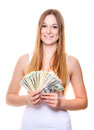 Woman holding bunch of us dollar notes attractive young all on white background Stock Photo