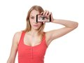 Woman holding camera phone to her face Royalty Free Stock Photo
