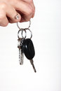 Woman holding car key Stock Images