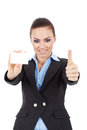 Woman holding card thumbs up Stock Photos