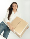 Woman holding cardboard box young brunette a Stock Photo