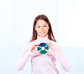 Woman holding cd disk brunette Royalty Free Stock Image