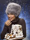 Woman holding a christmas cake Royalty Free Stock Photo