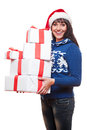 Woman holding christmas gifts Stock Photo