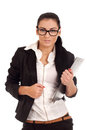 Woman holding clip board Stock Images