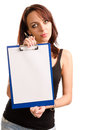 Woman holding a clipboard Royalty Free Stock Photo