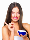 Woman holding cream container Royalty Free Stock Photo