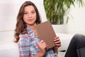 Woman holding diary Royalty Free Stock Photo