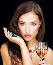 Woman holding dices Royalty Free Stock Image