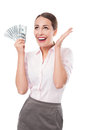 Woman holding dollar bills female a fan of money over white background Royalty Free Stock Photo
