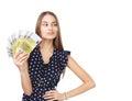 Woman holding euro money Royalty Free Stock Photo