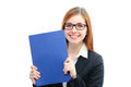 Woman holding files for a job interview happy young Royalty Free Stock Photo