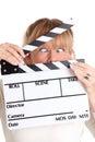 Woman holding a film slate
