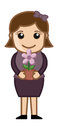 Woman Holding a Flower Pot in Hands - Vector Royalty Free Stock Photo