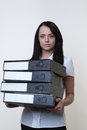 Woman holding folders Stock Photos