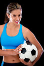 Woman holding a football ball Royalty Free Stock Photography
