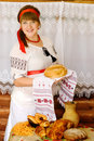 Woman holding freshly baked bread Royalty Free Stock Photo