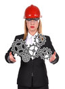 Woman holding gears engineer on a white background Stock Image