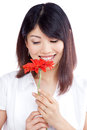 Woman holding gerbera flower young happy isolated on white background Royalty Free Stock Photos