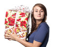Woman holding a gift box Stock Image