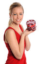Woman Holding Gift Box Stock Photos
