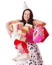 Woman holding gift box at birthday party. Stock Images